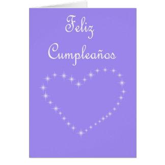 Feliz Cumpleaños Spanish Birthday with love heart Greeting Card