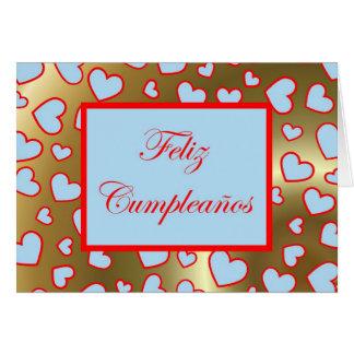 Feliz Cumpleaños Spanish Birthday with love hearts Greeting Cards
