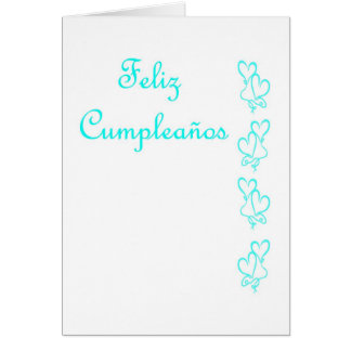 Feliz Cumpleaños Spanish Birthday with love hearts Greeting Card