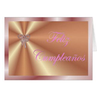 Feliz Cumpleaños Spanish Birthday with ribbon bow Greeting Card