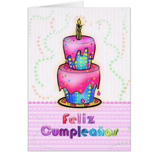 Feliz cumpleaños Spanish fun Birthday Cake pink Greeting Card