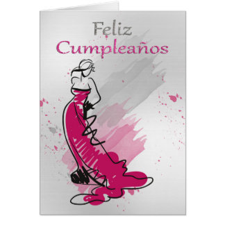 Feliz Cumpleanos, Spanish Greeting, Female Card