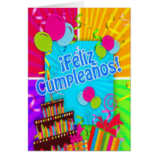 ¡Feliz Cumpleaños with fun colors balloons stream Card
