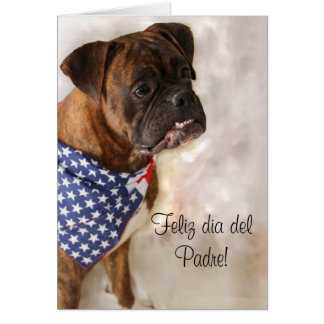 Feliz dia del Padre Boxer dog greeting card
