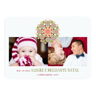 "Feliz e Convites brilhantes Mensagens de Natal 4.5"" X 6.25"" Invitation Card"