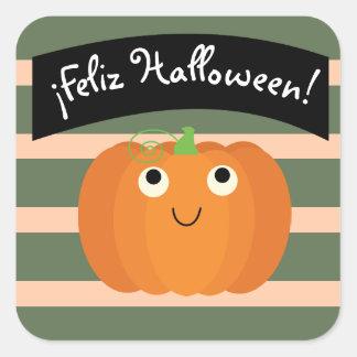 """Feliz Halloween"" Cute Sticker with Pumpkin"