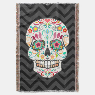 Feliz Muertos - Festive Sugar Skull Throw Blanket