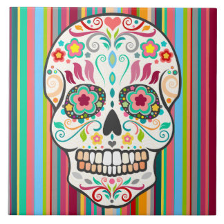 Feliz Muertos - Festive Sugar Skull Tile