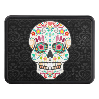 Feliz Muertos - Festive Sugar Skull Trailer Hitch Trailer Hitch Cover