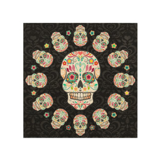 Feliz Muertos - Festive Sugar Skulls Wood Wall Art