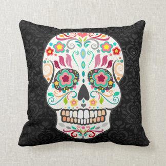 Feliz Muertos - Sugar Skull on Damask Throw Pillow