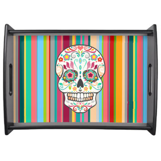 Feliz Muertos - Sugar Skull & Stripes Serving Tray