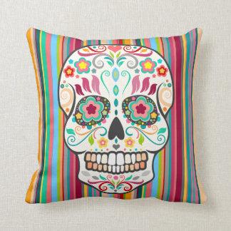 Feliz Muertos - Sugar Skull & Stripes Throw Pillow