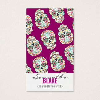Feliz Muertos - Sugar Skull Vertical Bizcards Business Card