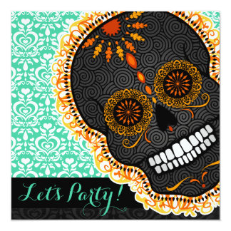Feliz Muertos Tilted Orange Sugar Skull on Teal Card