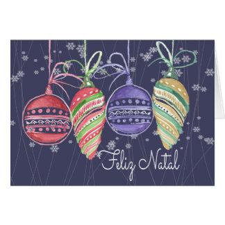 Feliz Natal Baubles Watercolor Greeting Card
