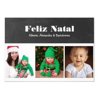 "Feliz Natal Black and White Personalized 5"" X 7"" Invitation Card"