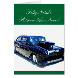 Feliz Natal Black POW custom classic car Greeting Card