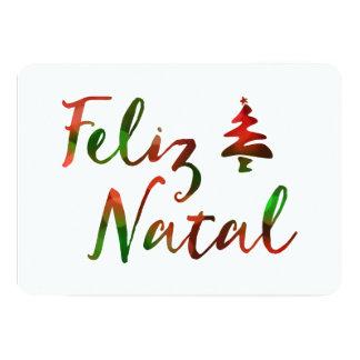 "Feliz Natal bokeh tree lights 5"" X 7"" Invitation Card"