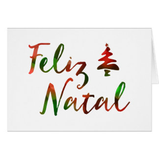 Feliz Natal bokeh tree lights Greeting Card