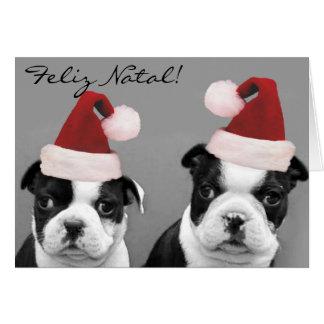 Feliz Natal Boston Terriers greeting card
