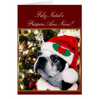 Feliz Natal Christmas Boston terrier Greeting Card