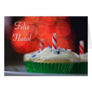 Feliz Natal Christmas Cupcake greeting card