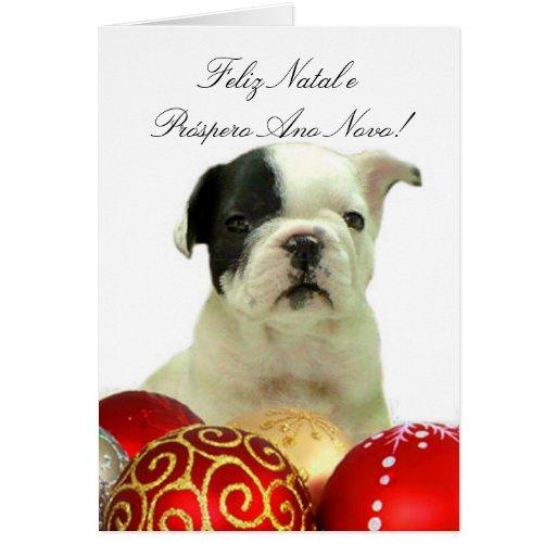 Feliz Natal Christmas French Bulldog greeting card