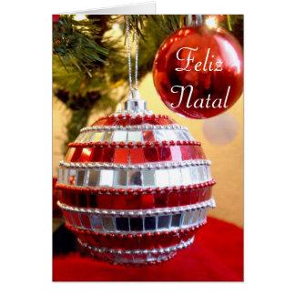 Feliz Natal Christmas Ornaments greeting card