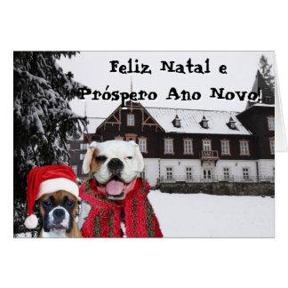 Feliz Natal e  Próspero Ano Novo Boxer Dogs card