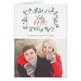 Feliz Natal Folhagem Pintada   Cartão de Natal Card