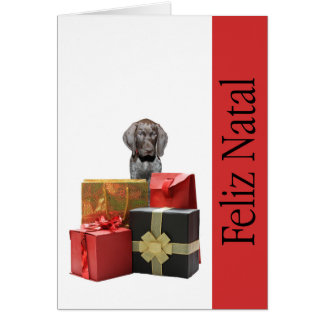 Feliz Natal german shorthaired pointer Chistmas Greeting Cards