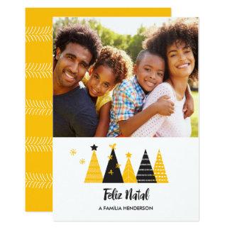Feliz Natal Gold & Black Trees Card