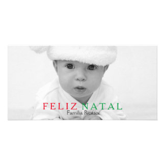 Feliz Natal Green Red Typography Christmas Picture Card