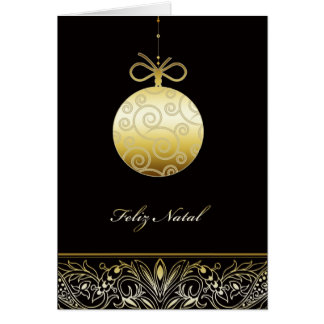 Feliz natal Merry christmas in Portuguese Greeting Card