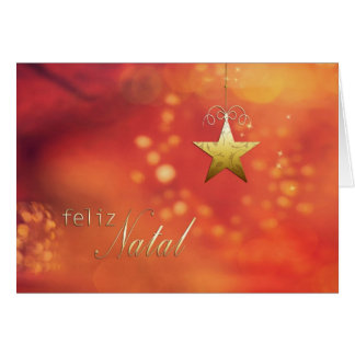 Feliz Natal, Merry Christmas in Portuguese, Star Greeting Card