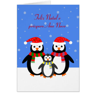 Feliz natal penguins portuguese christmas card