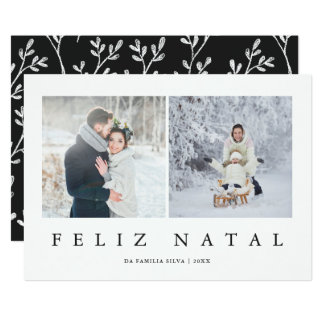 Feliz Natal Portuguese Modern Christmas Two Photo Card