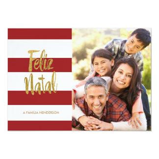 "Feliz Natal Red & Gold Stripes 5"" X 7"" Invitation Card"