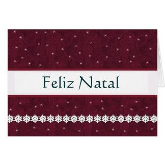 Feliz Natal Snowflakes MAROON Background Greeting Card