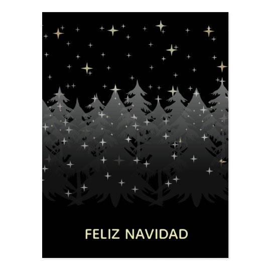 Feliz Navidad Black Night Sky Stars Gold Silver Postcard
