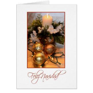 Feliz Navidad, blanc espagnol avec des ampoules Carte De Vœux