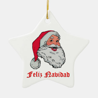 Feliz Navidad Ceramic Star Ornament
