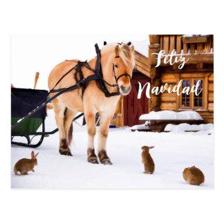 Feliz Navidad Christmas country idyll snow animals Postcard