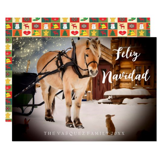Feliz Navidad Christmas night at a farm with horse Card