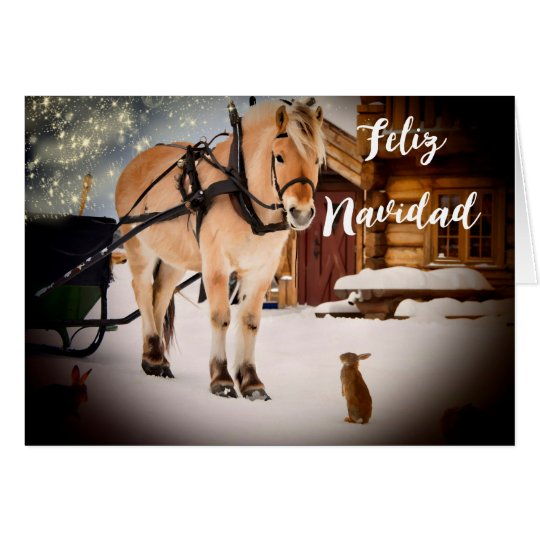 Feliz Navidad Christmas night farm with horse Card