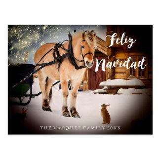 Feliz Navidad Christmas night farm with horse Postcard
