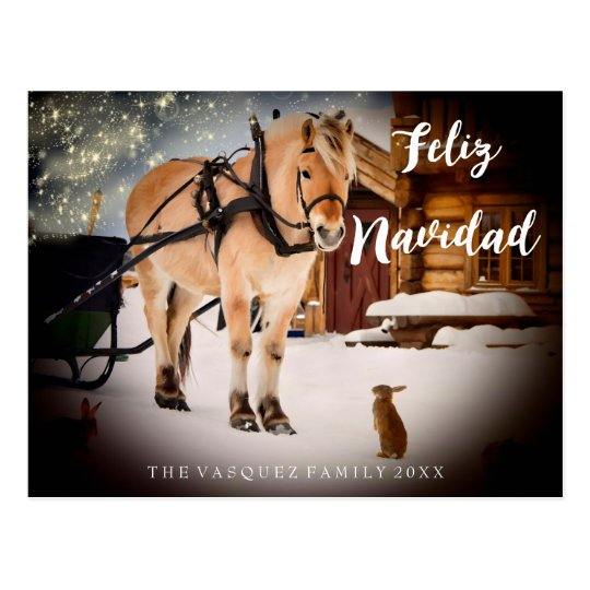 Feliz Navidad Christmas night farm with horse Postcard