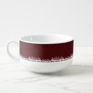 Feliz Navidad Dark Red And White Soup Mug