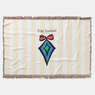Feliz Navidad Diamond Ornament Throw Blanket Yello